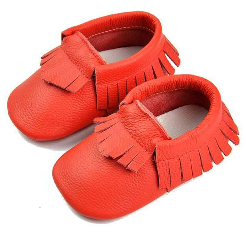 Baby Girls Red Genuine Leather Fringe Detail Moccasins 3-18M
