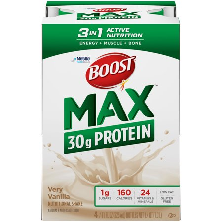 Boost Max Protein Nutritional Shake Very Vanilla, 11 fl oz Bottles, 12 Count
