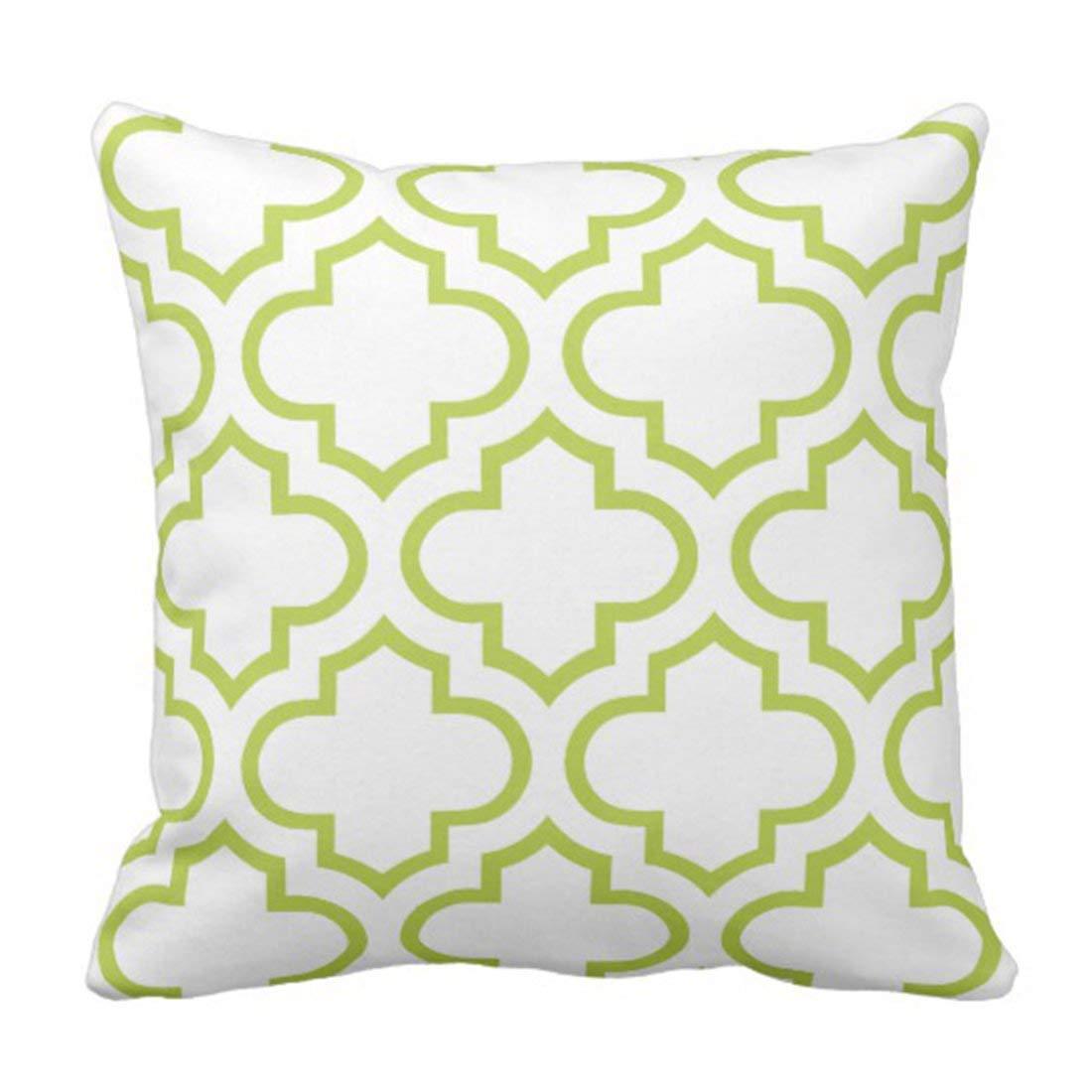 WOPOP Colorful Lattice Moroccan Pattern in Green Quatrefoil Pillowcase Cushion Cover 16x16 inches