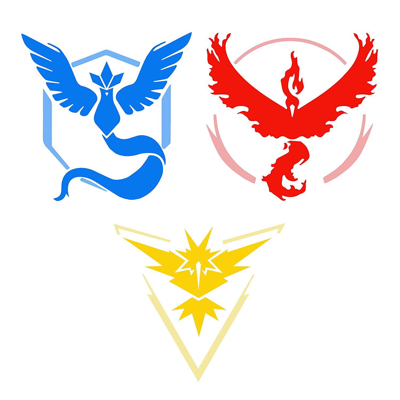 "6 Team Valor Mystic & Instinct Pokemon GO Decal Graphic Vinyl Die Cut Sticker Set Large 4 x 4"""
