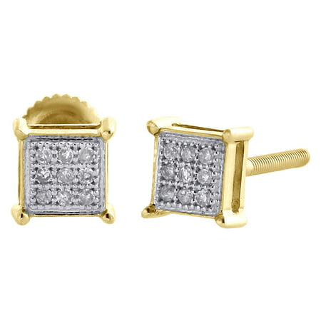 10K Yellow Gold Genuine Diamond Square Studs 4 Prong 5mm Pave Earrings 1/20 -