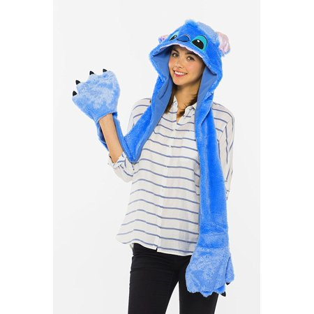 Disney Lilo & Stitch Stitch moving fluffy hood costume accessories for men and women shared length 105? 95384, One Hooded Muffler with attached gloves.., By The Cosplay Company Ship from US - Lilo And Stitch Costumes