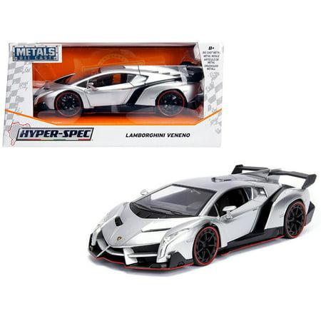 Candy Cars (Lamborghini Veneno Candy Silver 1/24 Diecast Model Car by)