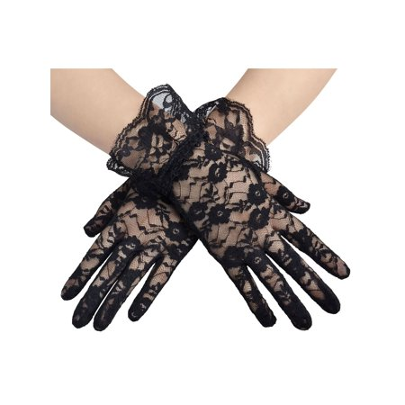 Women's Short Comfortable Elegant Lace Stretch Fancy Costume Gloves, Black - Black Lace Gloves