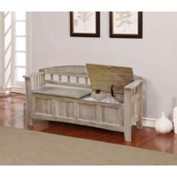 "Linon Aria 52"" Storage Bench, Natural Wash, Ample Interior Storage Space"