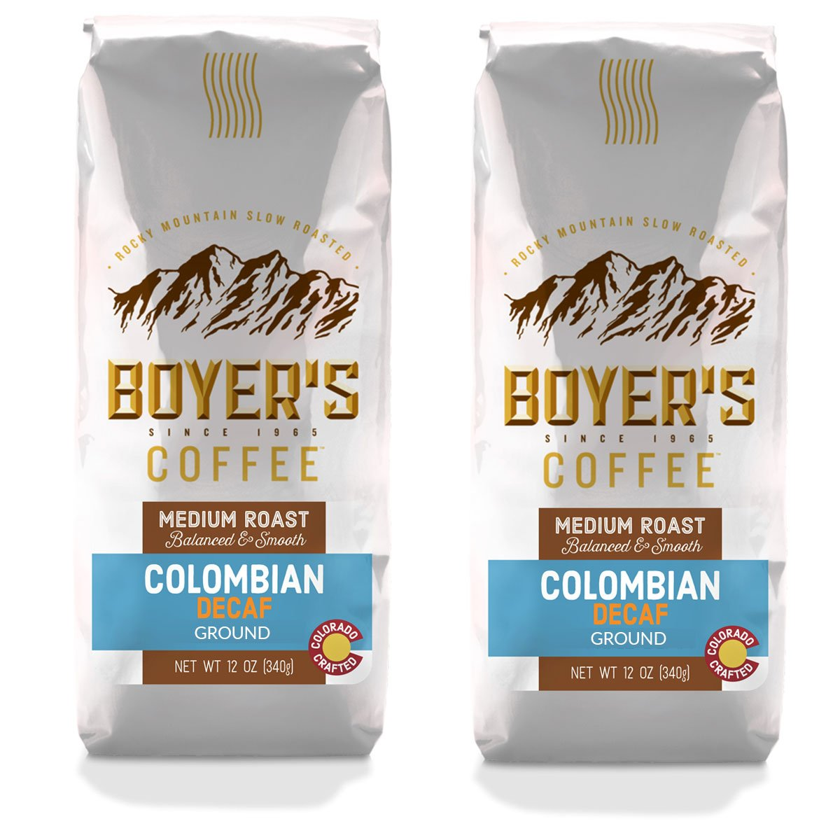 Boyer's Coffee Colombian Decaf Coffee, Ground, Medium Roast, 2-Pack (1.5lb)
