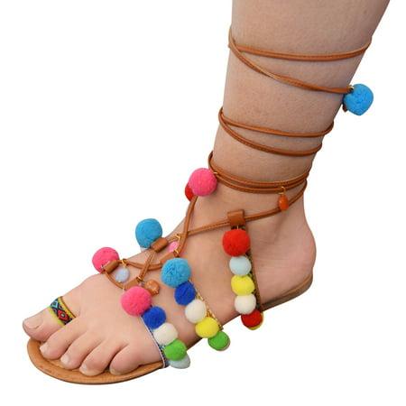 Modern Rush Women's Lace-Up Wrap Around Pom Pom Toe Ring Fashion Flat Sandal