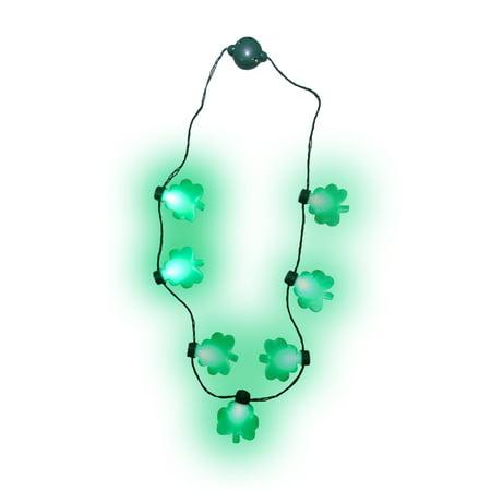 Light up St. Patricks Day Shamrock Necklace Flashing Green Bulb LED Glow Clover for $<!---->
