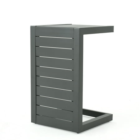 Crested Bay Patio Furniture Outdoor Aluminum C-Shaped Side Table, Grey ()
