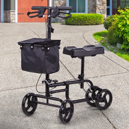 Jaxpety 4 Wheel Knee Walker Aluminum Scooter with Storage Basket Steerable Medical Mobility aid