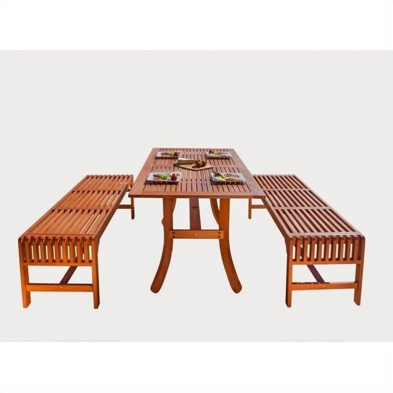 Vifah Malibu 3 Piece Wood Patio Dining Set
