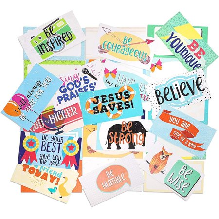 Juvale 60-Pack Christian Inspirational Lunch Box Notes for Kids, 30 Assorted Religious Card Designs, 3.5 x 2