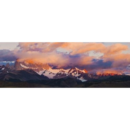 Clouds over mountains at sunrise Monte Fitz Roy Argentine Glaciers National Park Patagonia Argentina Poster