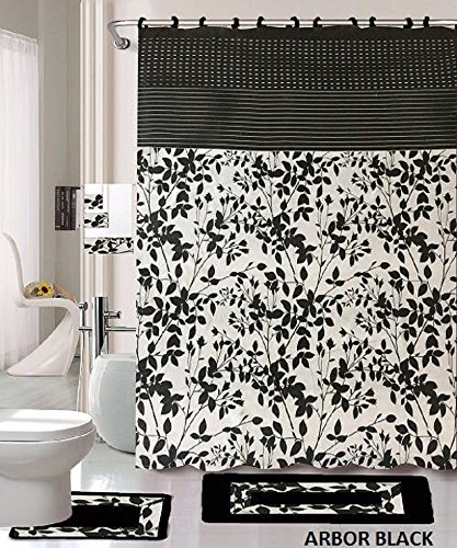 18 Piece Bath Rug Set Black White Beige Leaf Print Bathroom Rugs