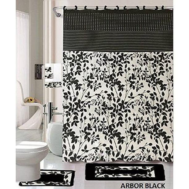 18 Piece Bath Rug Set Black White Beige Leaf Print Bathroom Rugs Shower Curtain Rings And Towels Sets Arbor Black Walmart Com Walmart Com