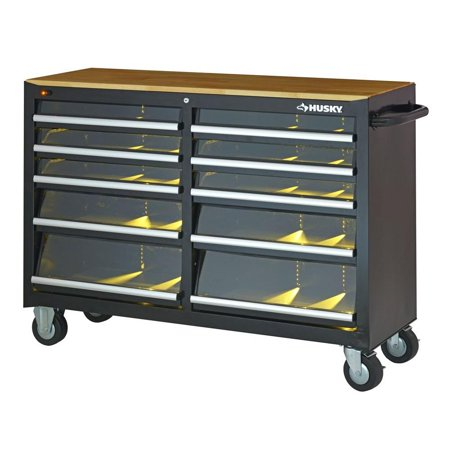 Husky Tool Cabinet Chest 10 Dr Box Rolling Storage Toolbox Wood Top