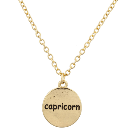 - Lux Accessories Gold Tone Capricorn Astrological Sign Engraved Charm Necklace