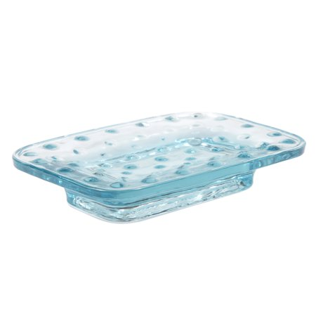 Holder Frosted Glass Soap Dish - Creative Home Transparent Blue Dot Glass Bar Soap Dish, Soap Holder Tray