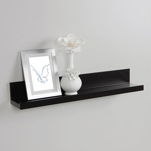 InPlace Shelving 23.6 in W x 4.5 in D x 3.5 in H Picture Ledge Floating Wood Wall Shelf, Black