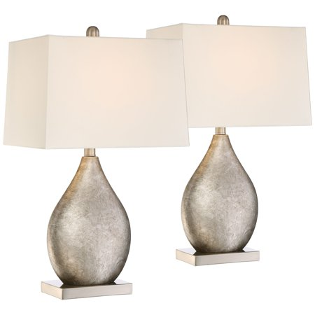 Metal Drop (360 Lighting Modern Table Lamps Set of 2 Silver Metal Teardrop Off White Rectangular Shade for Living Room Family Bedroom)