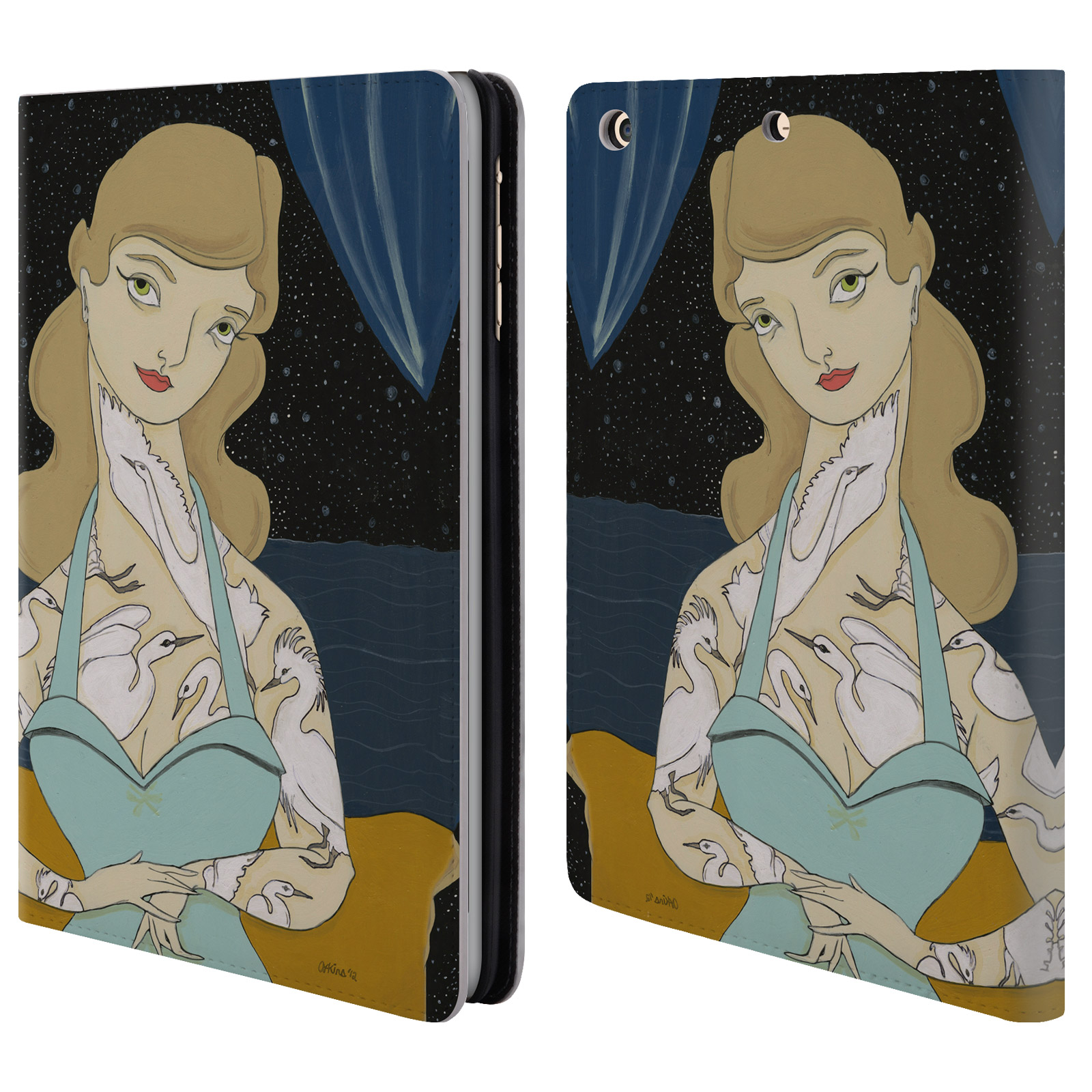 OFFICIAL AMANDA LAUREL ATKINS LADIES LEATHER BOOK WALLET CASE COVER FOR APPLE IPAD