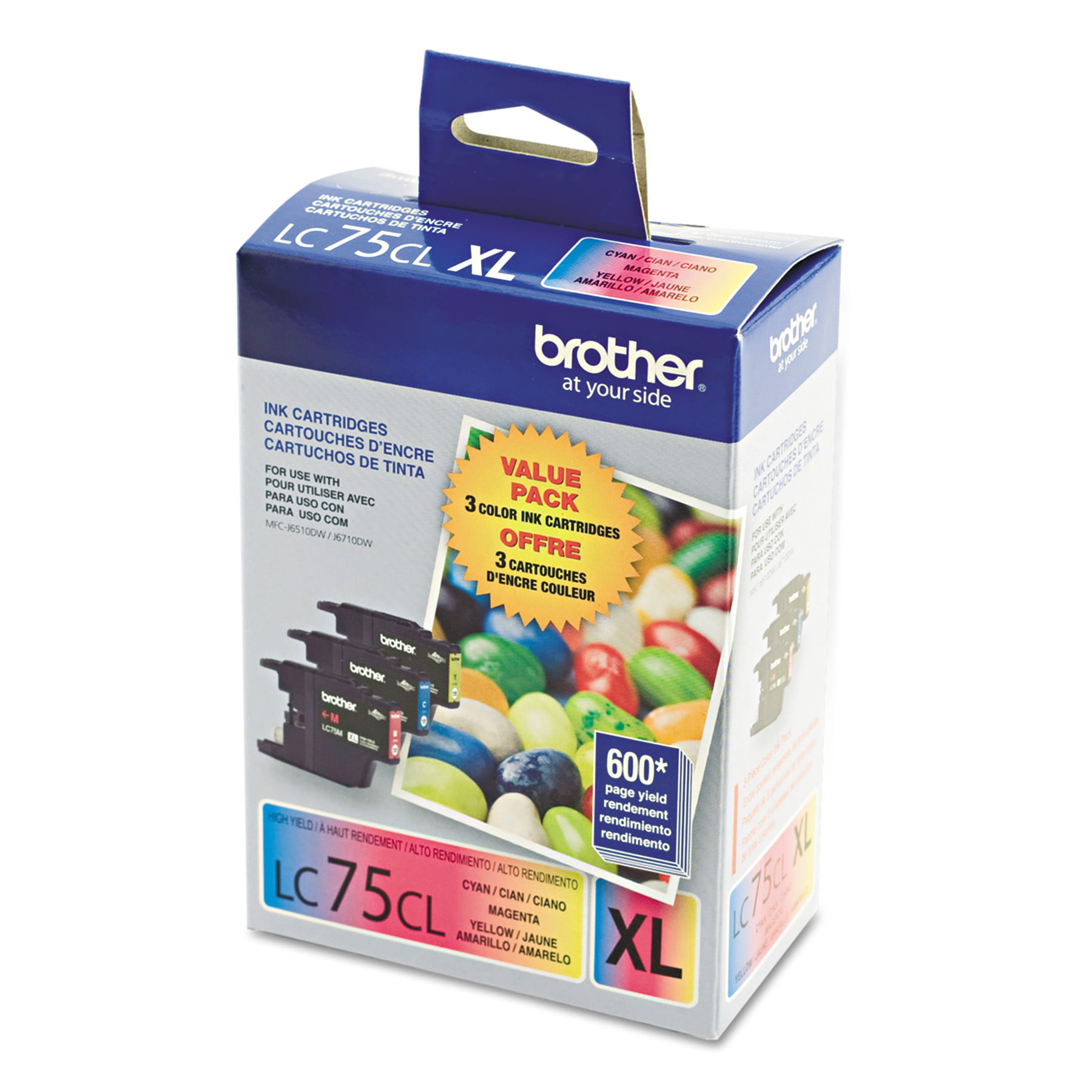Brother Genuine High Yield Color Ink Cartridge LC753PKS Replacement 3 Pack