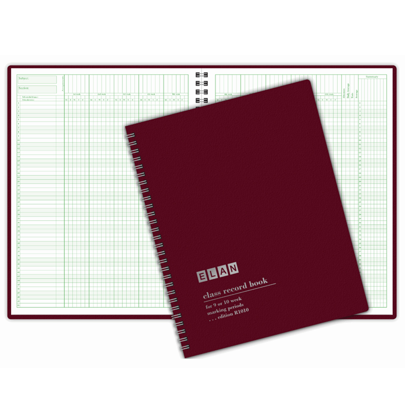 (4 Ea) Class Record Book 9-10 Wk 50 Names by Elan Publishing