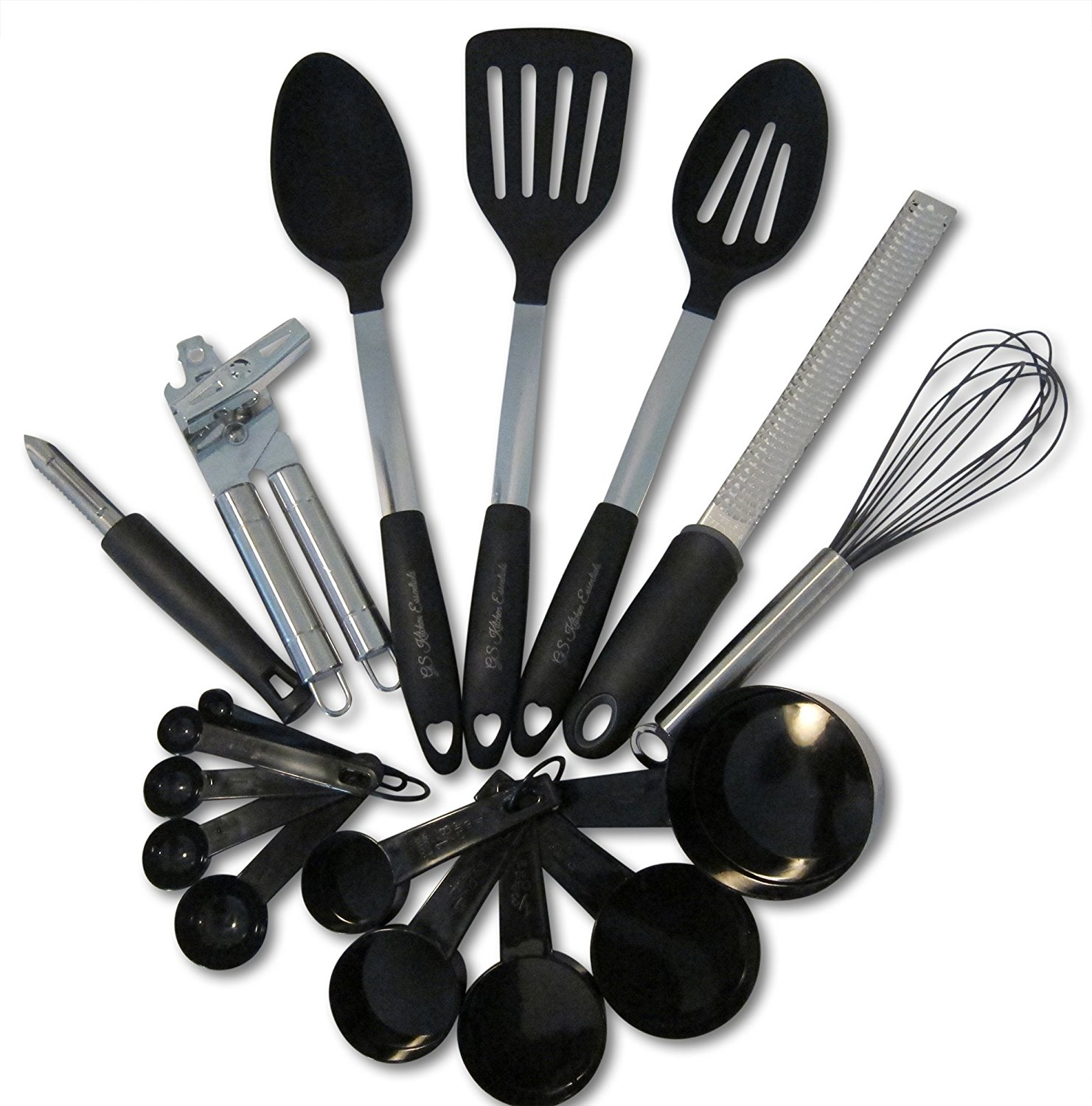 Kitchen Utensils and Gadgets 17 piece Silicone and Stainless Steel Cooking Tools Set - Cooks Essenti