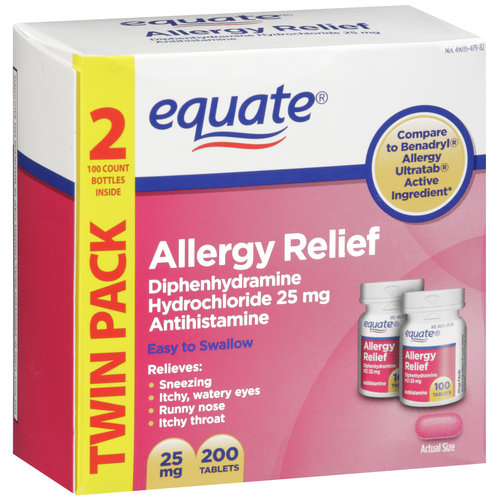 Equate Diphenhydramine Hydrochloride Antihistamine Allergy Relief 25mg, 200ct