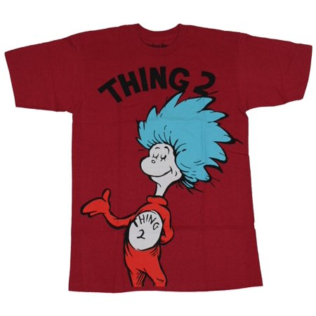 Dr. Seuss Cat in The Hat Mens T-Shirt - Thing 2 Full Drawing Under - Dr Suess Thing 2