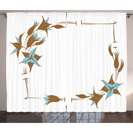 Brown and Blue Curtains 2 Panels Set, Floral Pattern with Lines Curves Botany Inspired Abstract Art, Window Drapes for Living Room Bedroom, 108W X 63L Inches, Caramel Pale Blue White, by Ambesonne