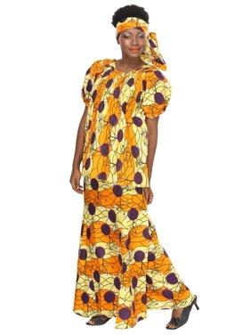 African Planet Women's Ethnic Yellow Kaftan Buba Blouse Skirt Headwrap Printed