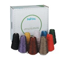 Trait Tex 4-Ply Double-Weight Glitter Yarn Cone, 2835 yd Dispenser Box, Assorted Color, 8 oz Cone, Set of 9