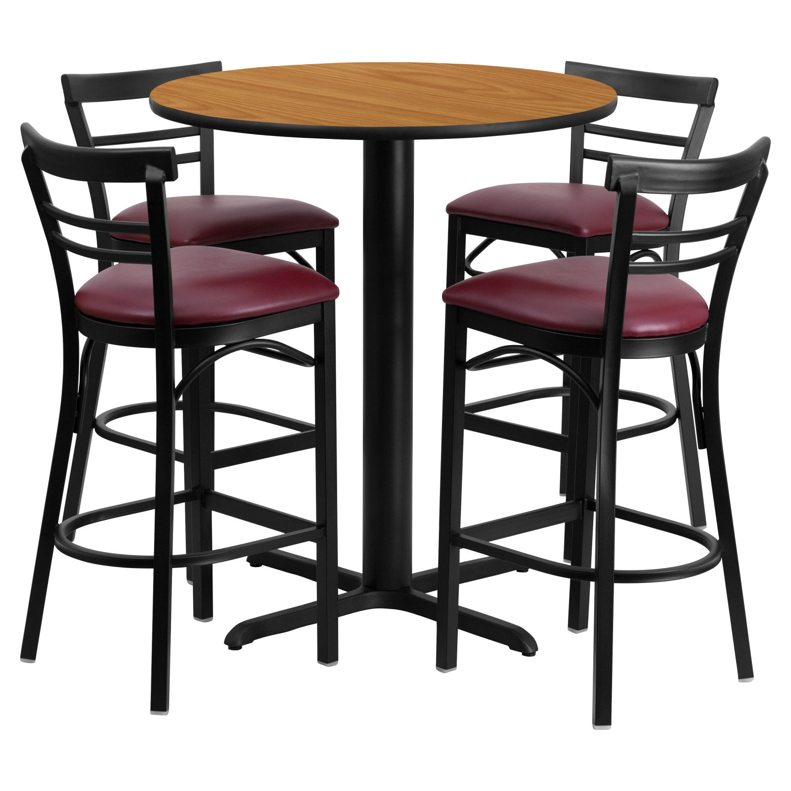 Flash Furniture 24'' Round Natural Laminate Table Set with 4 Ladder Back Metal Barstools, Burgundy Vinyl Seat Black, Burgundy, Natural