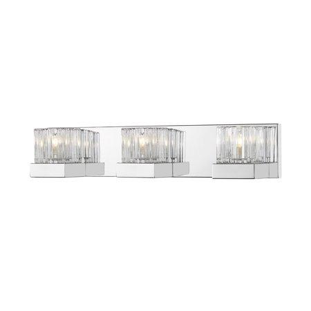 "Z-Lite 468-3V-LED Fallon 3 Light 22"" Wide Vanity Light with Clear Ribbed Glass S"
