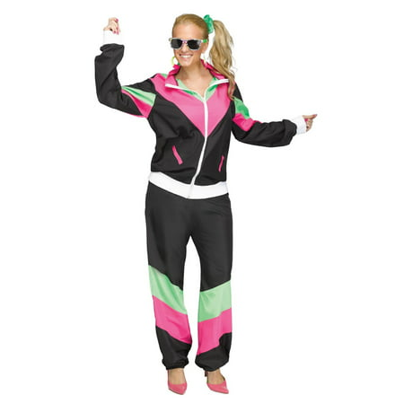 Halloween Women's 80's Track Suit Costume](80's Halloween Costume. Blow Up Head)