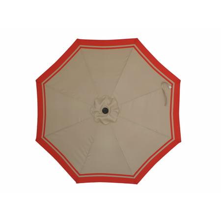 Premium Market Outdoor Patio Umbrella (Crank & Tilt)- Tan with Red Striped Border