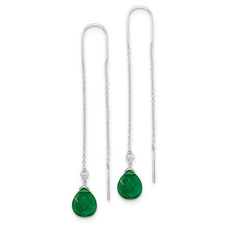 925 Sterling Silver Green Synthetic Cubic Zirconia Teardrop Threader Earrings