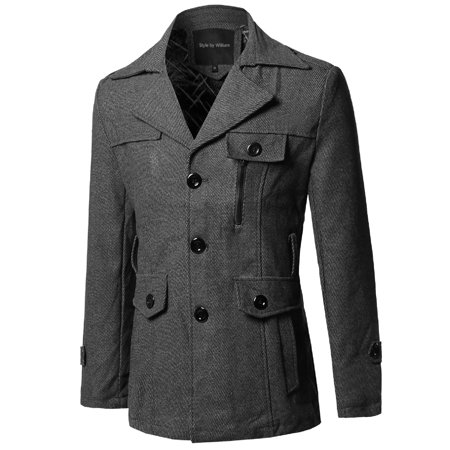 Men's Classic Tweed Pattern Detachable Belt Coat (Mens Jacket Patterns)