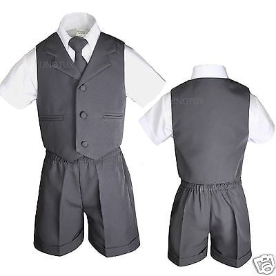 New Natural Shell Color Baby /& Boy Eton Formal Vest Shorts Suit New born to 4T