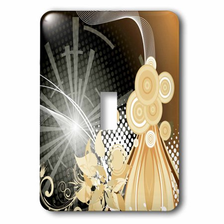 3dRose Beige, White, and Black Shimmering Streamers and Circles Abstract, Double Toggle Switch