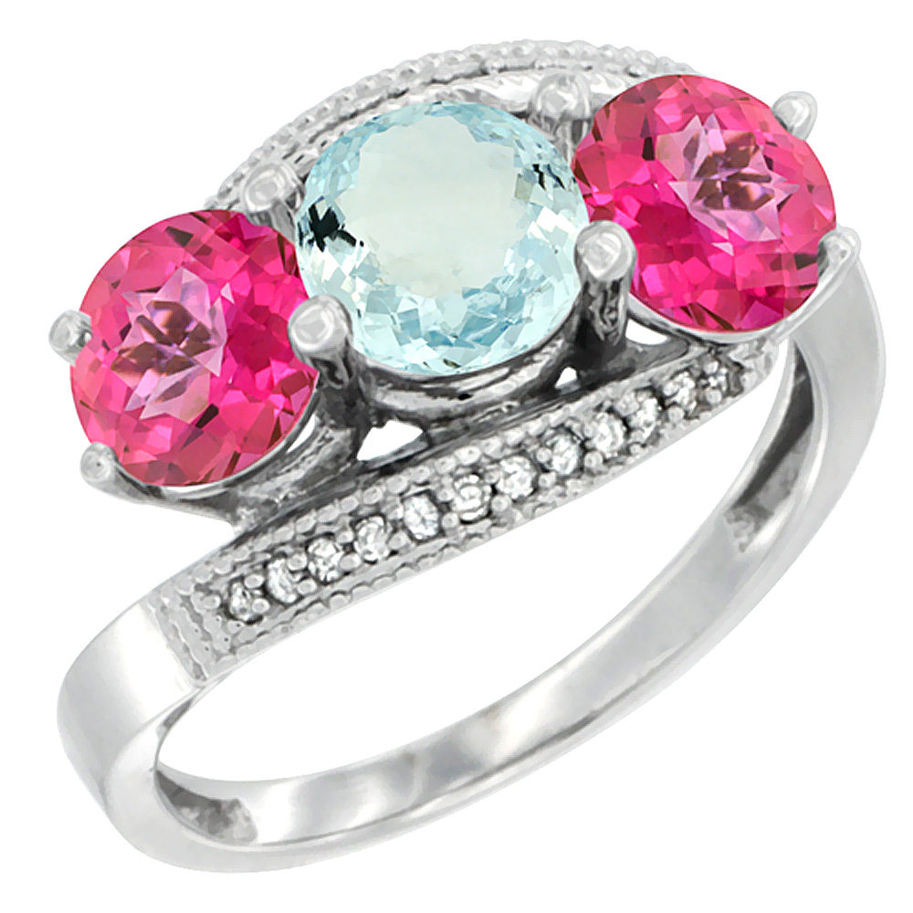 10K White Gold Natural Aquamarine & Pink Topaz Sides 3 stone Ring Round 6mm Diamond Accent, sizes 5 10 by WorldJewels