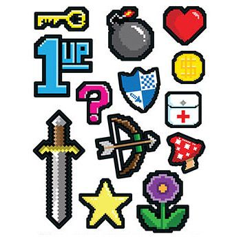 8-Bit Peel 'N Place Wall Clings (13 Pack) - Party Supplies