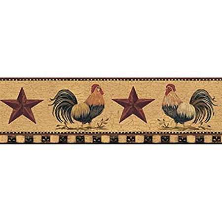 (Welcome Home YC3402BD Rooster Border, Manila Tan / Barn Red / Bright Red / Black, Border Height: 6 Inches; 5 Yard Spool; Design Repeat: 20 Inches By York Wallcoverings From USA)