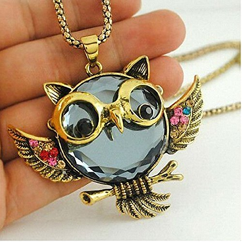 Owl Jewelry Beautiful Crystal Vintage Owl Pendants Necklace Owl Jewelry