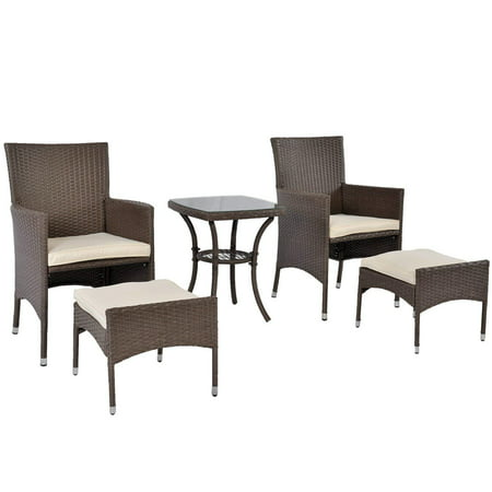 Outdoor Rattan Sofa Set, Patio Furniture Conversation Sets, PE Wicker Chairs with Cushion Glass Side Table (Brown) ()
