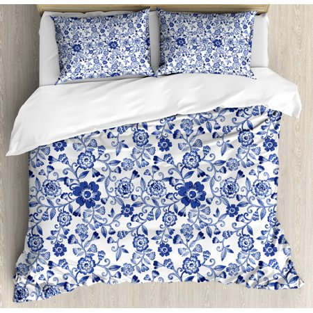 Blue And White Bedding Sets.Watercolor Duvet Cover Set Artistic Vibrant Blue Flowers Pattern Feminine Floral Spring Ornaments Decorative Bedding Set With Pillow Shams Violet