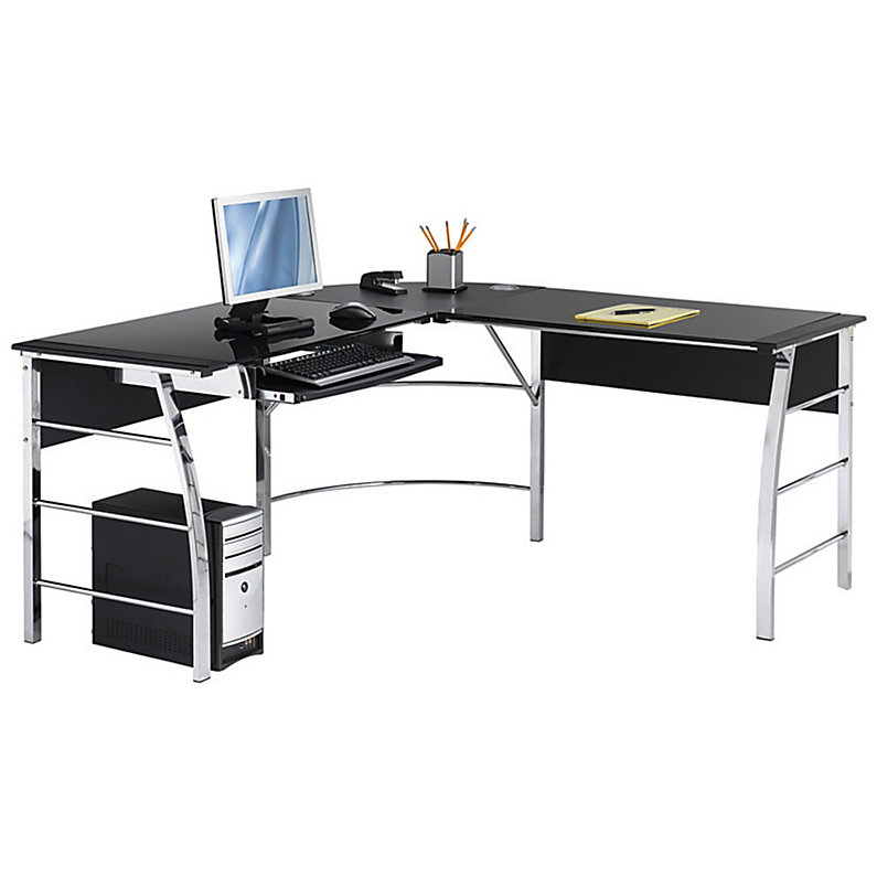 Charmant Realspace Mezza L Shaped Glass Computer Desk, Black/Chrom