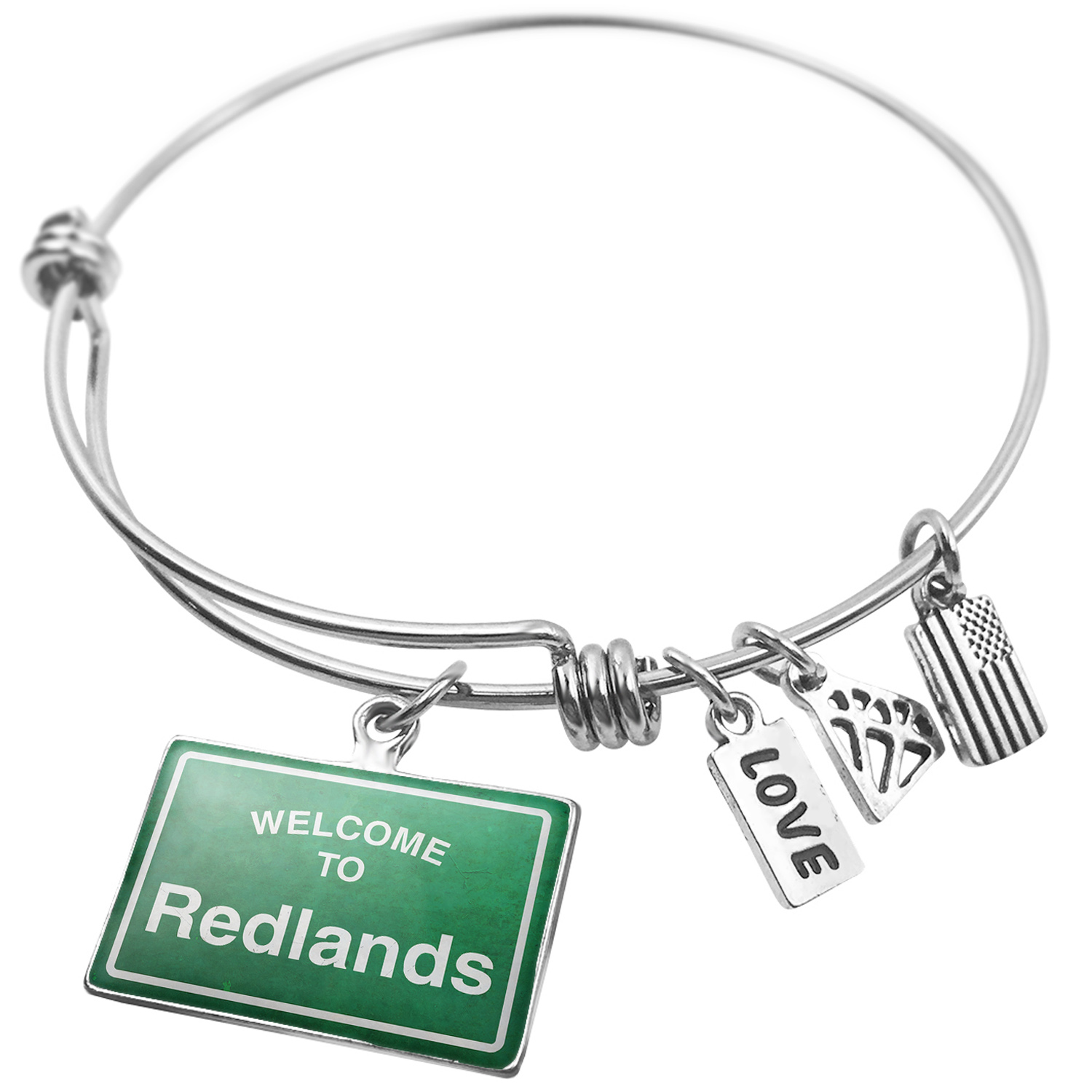 Expandable Wire Bangle Bracelet Green Road Sign Welcome To Redlands - NEONBLOND