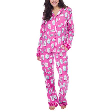 Ladies 2 Piece Pj - Munki Munki Women 2-Piece PJ Flannel Pajama Sleep Set